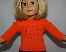 """ORANGE LONG SLEEVE TEE w/ PEACE SIGN -Doll Clothes -fits 18"""" American Girl Dolls"""