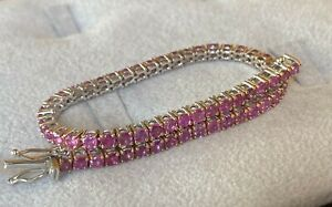 Tennis Bracelet Certified White Gold 18 Kt. With Sapphires Pink Natural 4,30