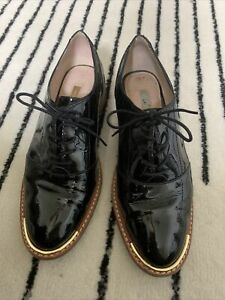 Louise Et Cie Shoes Black Patent Leather Oxfords Lace Up Heel Woman's Sz 7.5