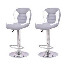 Set of 2 Bar Stool Adjustable Barstool PU Leather Swivel Pub Armless Chair New