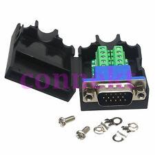 DB15 VGA male 9Pin D-Sub Connector 3+6 line Terminal Board Plastic Cover nut bla