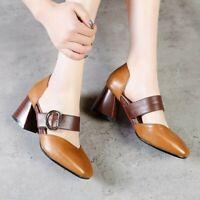 Ankle Rivet Strap Buckle On Mary Jane Lady Solid Mid Block Heel SquareToe Shoe