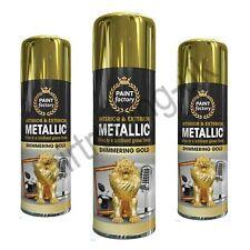 3x Gold Metallic Spray Paint Aerosol Interior Exterior Gloss Wood Metal - 400ML