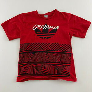 Adidas Originals Short Sleeve T Shirt Youth Size L Red 100% Cotton