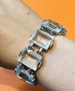 Swarovski Silver Tone Emerald Cut Crystal Bracelet