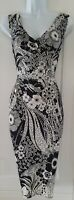 Womens Phase Eight Black White Floral Gathered Stretch Midi Wiggle Dress 8.