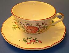 K G Luneville Old Strasbourg Coffee Tea Cup & Saucer Floral Bone 91 France