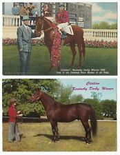 "HORSE RACING - "" CITATION "" Winner, 1948 KENTUCKY DERBY - 2 x Vintage Postcards"