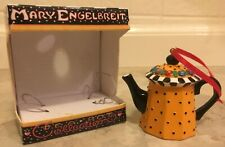 (4) Mary Engelbreit Teapot Collection Ornaments w/ Orig Boxes; Exc Cond