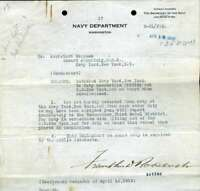 Franklin Roosevelt JSA Coa Hand Signed 1918 Navy Secretary Letter Autograph