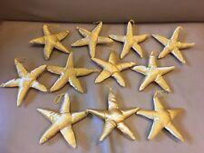 "Satin Silk ? Fabric Yellow Gold Star 11 Christmas Ornaments Plush Stuffed 6"""