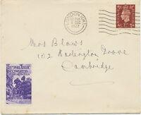 "2409 1937 George VI 1½D VF cover ""LONDON N.W.1."" Philatelic Congress CAMBRIDGE"