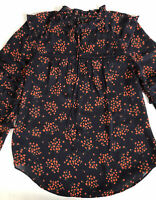 Ann Taylor Womens Floral Blouse Size Small V-Neck  Long Sleeves