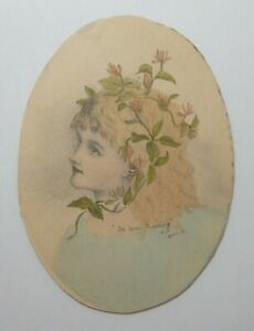 ANTIQUE PAINTING OF A YOUNG LADY - I'VE BEEN ROAMING - 1881 BY E.I.F    P51