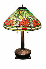 "Tiffany Style Stained Glass Daffodil Table Lamp Handcrafted 18"" Shade"