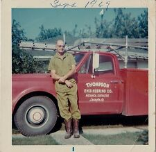 Vintage Photograph Man by Truck Thompson Engineering Co. Lexington KY 1969