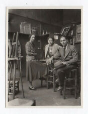 PHOTO ANCIENNE Atelier de Peinture 1930 Art Cours Nu Modèle ? Chevalet Peintre