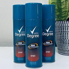 3 Cans Degree Men Sport Antiperspirant Deodorant Spray 48 Hour 6 oz Aerosol