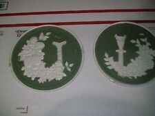 (2 count) Vintage Stove Pipe Flue Vent Cover with pillars round pictures