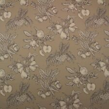 """THIBAUT HARVEST TOILE TAUPE FRUIT APPLE FLORAL COTTON LUXURY FABRIC BY YARD 54""""W"""