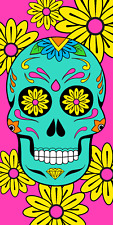 Pink Sugar Skull Beach Towel Day of Dead Souvenir Cotton 30X60 NEW Pool Bath