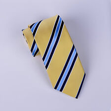 Blue Striped Tie Black Lining Yellow Regimental Stripe Necktie Designer Fashion
