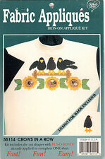 "NOS What's New Fabric Appliqués Iron-On Appliqué Kit 55114 ""Crows in a Row"""