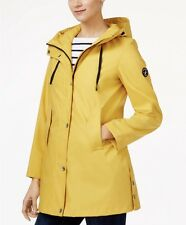 New Womens Nautical Yellow Hooded A-LINE Long sleeve Trench Coat Rain Jacket