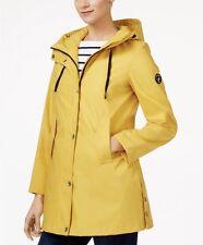 New Womens Nautical Yellow Hooded A-LINE Long sleeve Trench Coat Rain Jacket