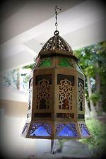 Antique Vintage Old Heavy Filigree Solid Bronze Lantern Chandelier Hanging Lamp