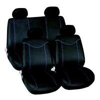 UNIVERSAL 10 PC BLACK / BLUE CAR SEAT COVERS FULL REAR COVER SET XMAS GIFT BOYS