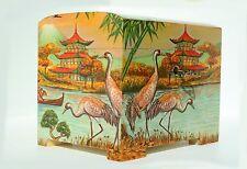 Wood handmade hinged medium trinket chest box decoupage-Chinese design, with key