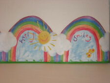 Carefree Wallpaper Border Rainbow Smiley Happy Sun Clouds Butterfly 5 Yds
