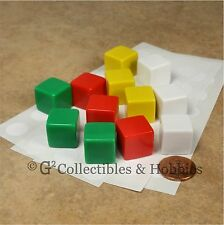 NEW Set of 12 Blank Dice - 16mm 5/8 inch Green Red White Yellow Math RPG Game D6