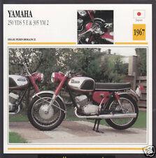 1967 Yamaha 250cc YDS 5 E & 305 YM 2 Japan Motorcycle Photo Spec Info Stat Card