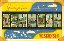 Oshkosh,WI. A 1944 Big Letter Greeting from Oshkosh
