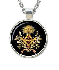 Masonic Glass Necklace Pendant with Various Masonic Symbolism for Free Masons