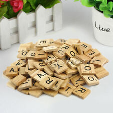 100 Wooden Scrabble Tiles Black Letters Tiles For Crafts Wood Alphabets Toy F#S