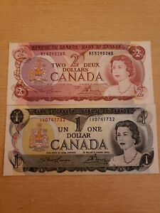 🇨🇦 Canada 1 dollar 1973 P-85a  & 2 dollars 1974 P-86a Currency Banknote  UNC