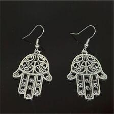 Fashion Women Hollow out  Charm Hand Pendant Tibet silver Hook dangle earrings