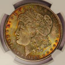 1890 Morgan Silver Dollar *NGC MS63* Attractive Rainbow Toning!