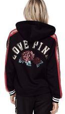 Victoria's Secret Pink Lace Up Bling Rose Black Pullover Hoodie Appliqué ~Large