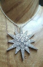 Large Statement Piece Sterling Silver and Cubic Zirconia Northern Star Necklace