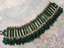 Vtg Egyptian Revival Czech Green Bugle Mirror Glass & Pearls GF Bracelet-Estate