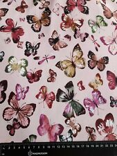 Pink Butterfly Organic French Terry Knit Fabric Cotton Elastane Stretch Material