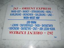 PLAQUE INTERIEURE SNCF/CIWL TRAINS 262/ 263 ORIENT EXPRESS PARIS-WIEN