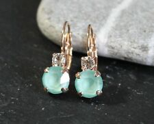 Rose Gold Plated Mint/Clear Leverback Earrings with Swarovski Crystal Element