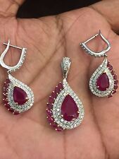 Pave 14.55 Cts Natural Diamonds Ruby Pendant Earrings Set In Solid 18Karat Gold