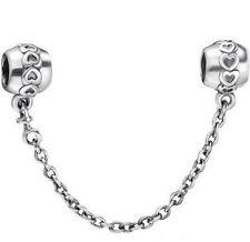 Silver Love Hearts Genuine s925 Hallmarked Bracelet Safety Chain +Gift Pouch