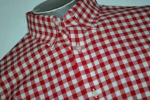 20077-a Mens Lands' End Button Up Dress Shirt Non-Iron Red Plaids Size Large